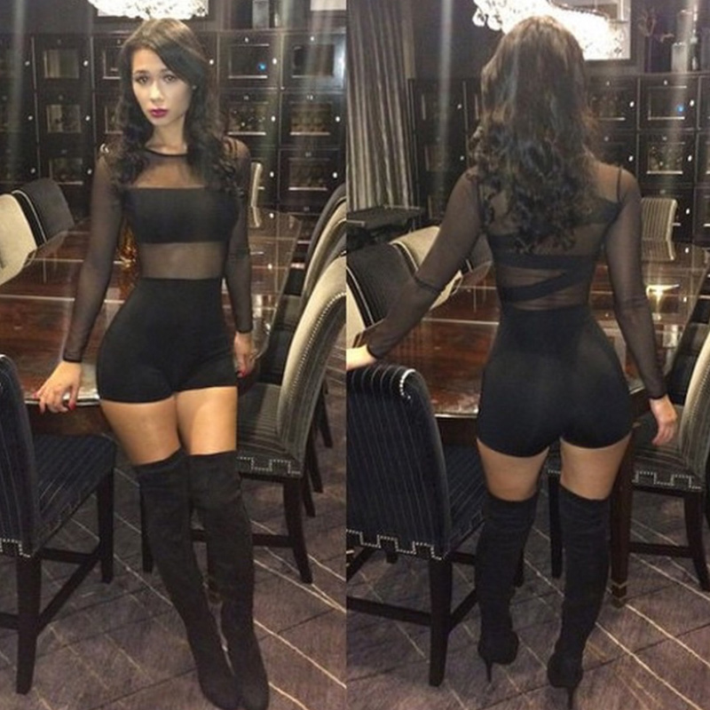 2019 New Sexy Mesh Rompers Womens   Jumpsuit   Lace Round Neck Long Sleeve Playsuit Bodycon Short Catsuit Bodysuit Outfits Black