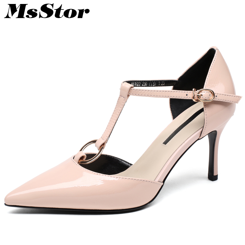 все цены на MsStor Pointed Toe Sandals Women Shoes Fashion Metal Decoration Buckle High Heels Sandalias Mujer 2018 Black Pink Sandalia Mujer онлайн