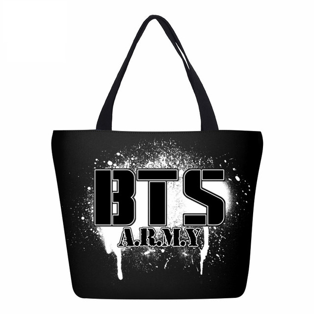 VEEVANV Fashion BTS Letter Prints Women Handbags Canvas Shoulder Bag Female  Portable Shopping Bag Girls School 06ee7b0711c54