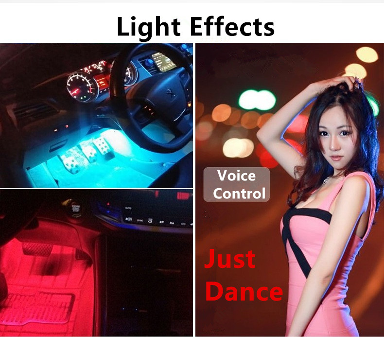 Car-Styling 12V Voice Control Atmosphere LED Light Lamp 4 Strip Interior Decorative 7 Color RGB With Wireless Remote Hot Sale car styling wireless remote music voice control interior floor foot decoration light cigarette led atmosphere rgb neon lampstrip