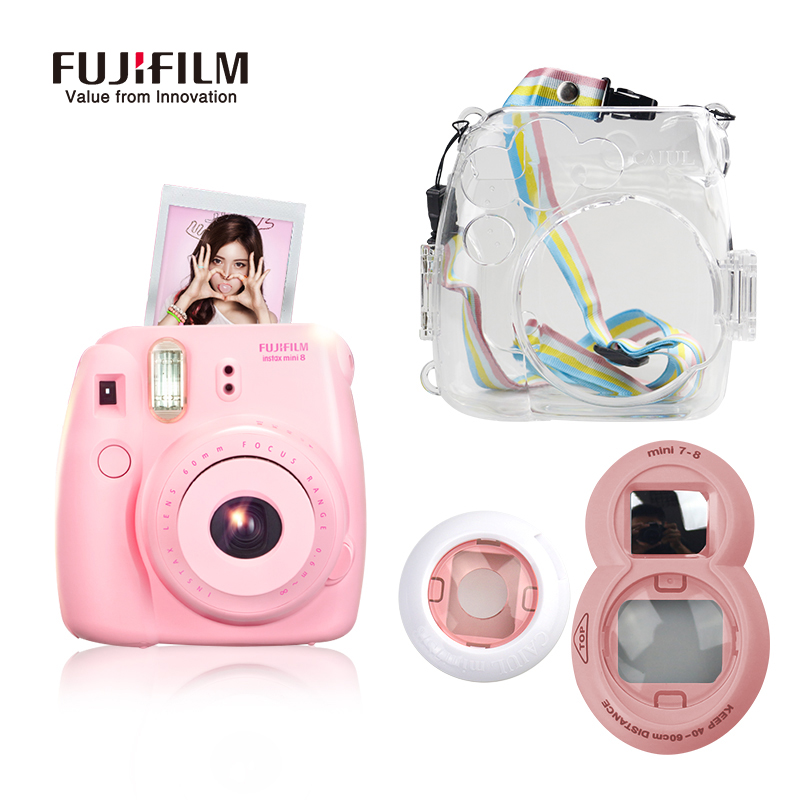Fujifilm Instax Mini 8 film Camera + Close-up Lens + Transparent Camera Bag with Gift for Fiji Instant Mimi8 Film Photo Camera new 5 colors fujifilm instax mini 9 instant camera 100 photos fuji instant mini 8 film