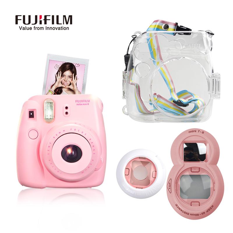 Prix pour Fujifilm instax mini 8 film caméra + close-up lens + transparent caméra Sac avec Cadeau pour Fidji Instantanée Mimi8 Film Photo Caméra