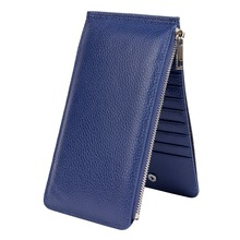 Brand Quality Women Card Wallet Genuine Leather Long Purse Double Side Wallet 20pcs Credit Cards Holder ZIP Female Clutch Wallet