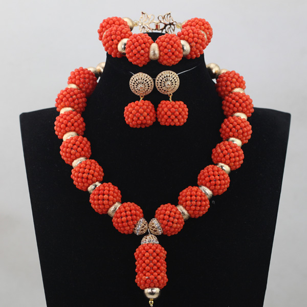 Amazing African Coral Bead Necklace Women Fashion Jewelry New Bead Necklaces Pendant Jewelry Free Shipping CNR691 dandie fashionable necklace with orange acrylic bead elegant weave braid bead necklace jewelry for women