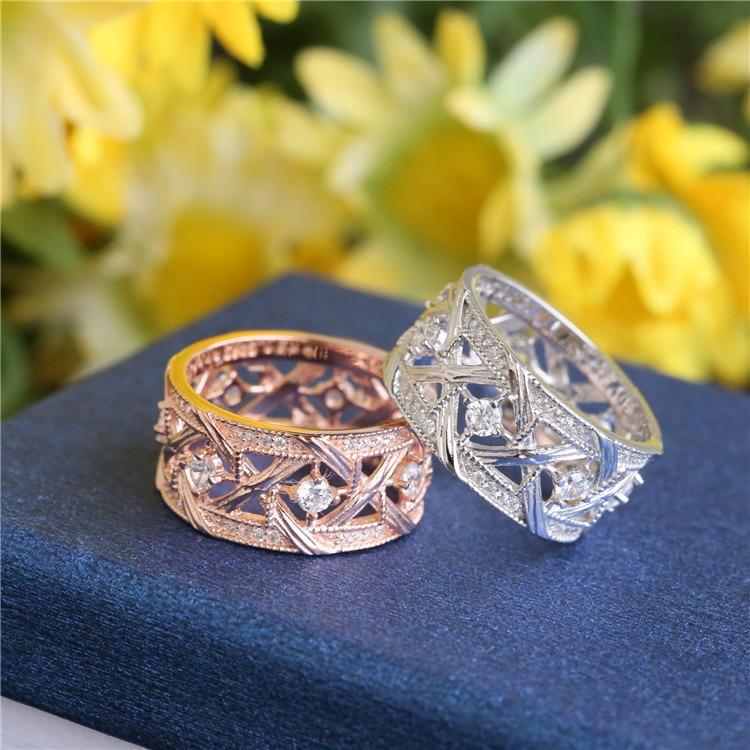 ZOZIRI marque 100% 925 argent sterling mode creux cercle anneaux pour charme femmes cubique zircone anneaux été tous les jours bijoux