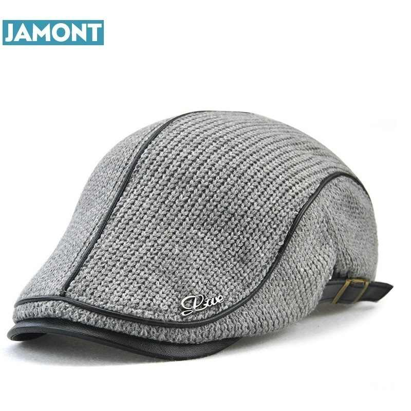 adc7d59c872 JAMONT High Quality English Style Winter Woolen Elderly Men Cap Thick Warm  Beret Hat Classic Design