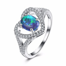 Luxury Romantic Heart Engagement Party Anti Allergy Natural Stone Blue Opal Rings for Women High Quality R031