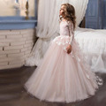 Newly Light Pink Lace Flower Girl Dresses For Weddings Beauty Pageant Dresses For Girls Glitz Long Sleeve Holy Communion Dress