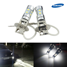 ANGRONG 2x H3 453 Bulb 10 SMD SAMSUNG LED Projector Head Daytime Running Fog Light DRL
