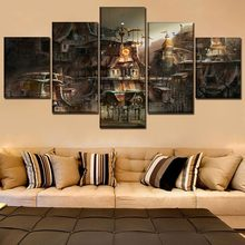 Canvas Print Painting Home Decorative Modular Framework5 Panel Building City Sci Fi Steampunk Poster Modern Wall Art Picture(China)