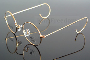 Image 1 - 42mm Vintage Round Gold Wire Rim Eyeglass Frame Spectacles Glasses Rx able 727