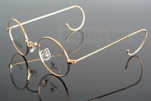 f2f2a4f7678 42mm Vintage Round Gold Wire Rim Eyeglass Frame Spectacles Glasses Rx able  727