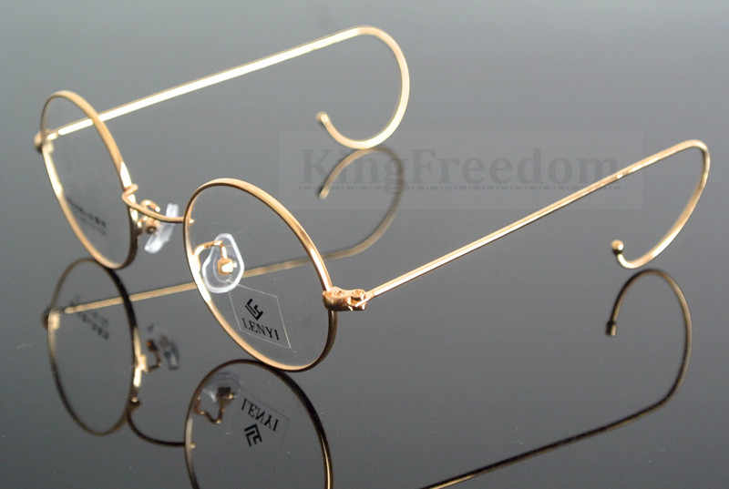 74c368231f7 42mm Vintage Round Gold Wire Rim Eyeglass Frame Spectacles Glasses Rx able  727