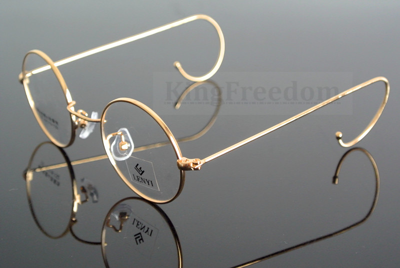 42mm vintage round gold wire rim eyeglass frame spectacles glasses rx able 727china