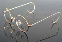 42mm 빈티지 라운드 골드 와이어 림 안경 프레임 안경 안경 rx 수 727