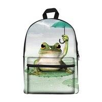 New 2017 Kawaii canvas Backpack for Girls Fashion Children School Bag Cute frog Backpack Kids School Backpack
