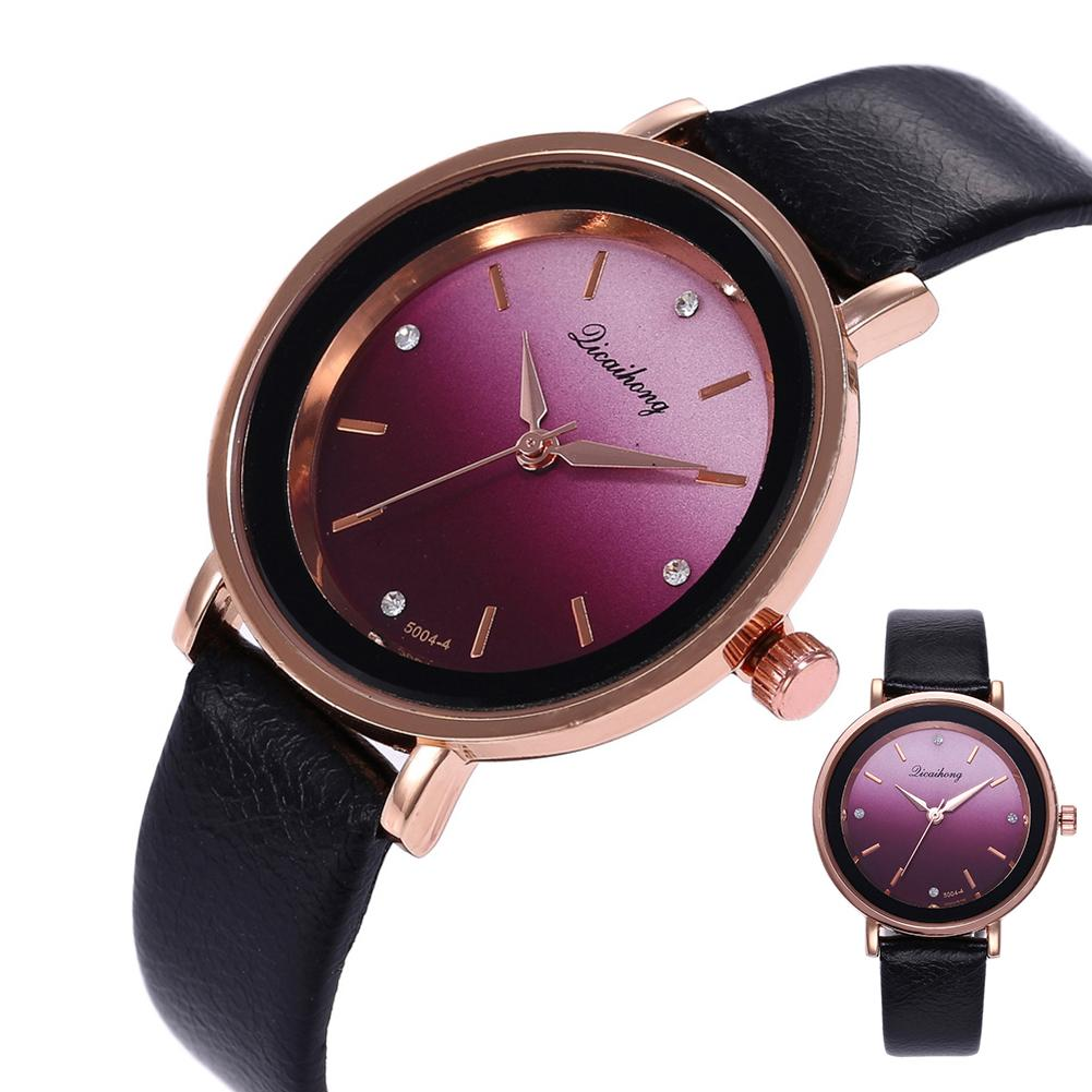 Fashion Women Round Gradient Color Dial Rhinestone Analog Quartz Wrist Watch Watch Women