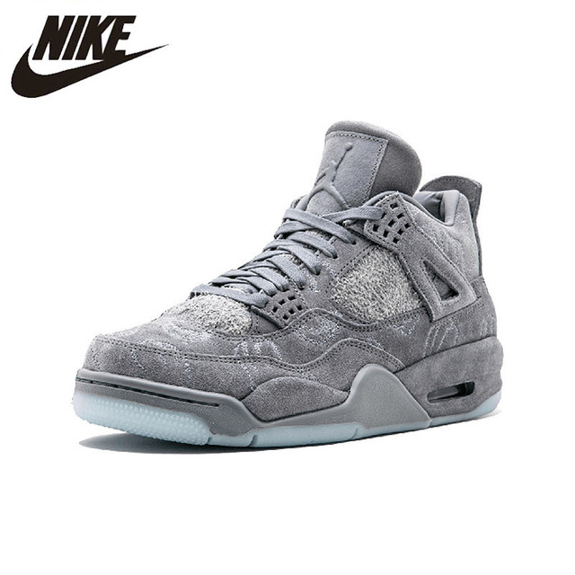 buy popular 9f922 c3e1a US $201.04 30% OFF|Nike Air Jordan 4 X KAWS Cool Gray AJ4 Suede Basketball  Shoes, Original Shock absorbing Outdoor Sports Shoes 930155 001 003-in ...