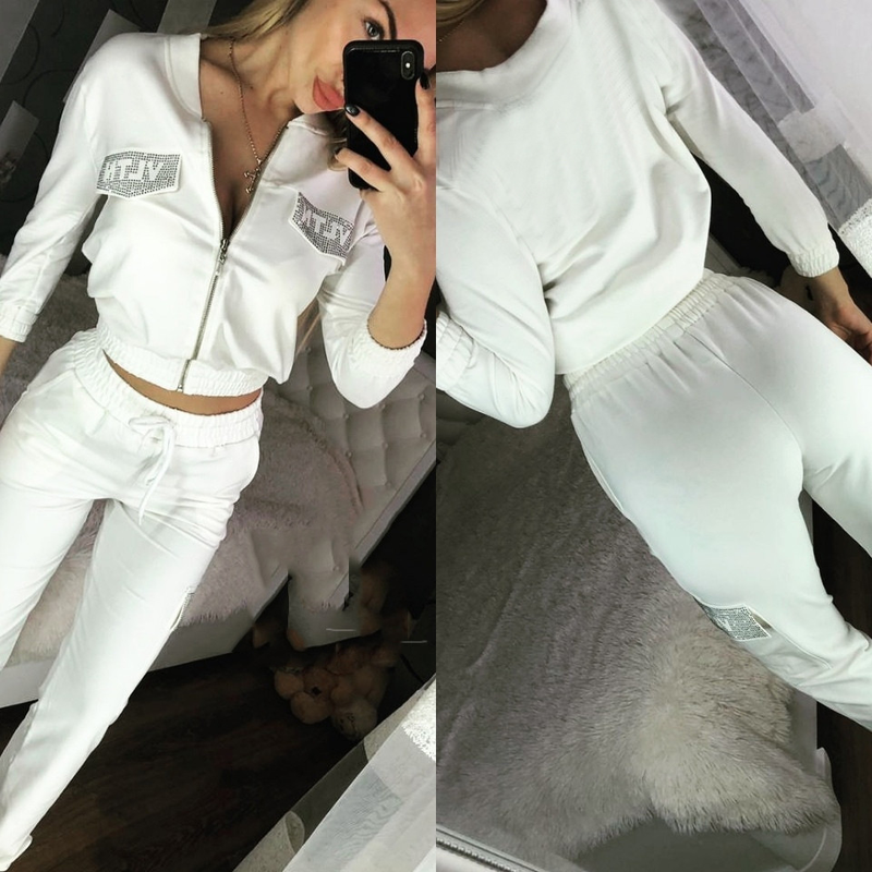 Autumn High Quality Slim Casual Sportwear Women 2 Piece Set White Zipper Crew Neck Jacket Full Length Female Pants Set Tracksuit