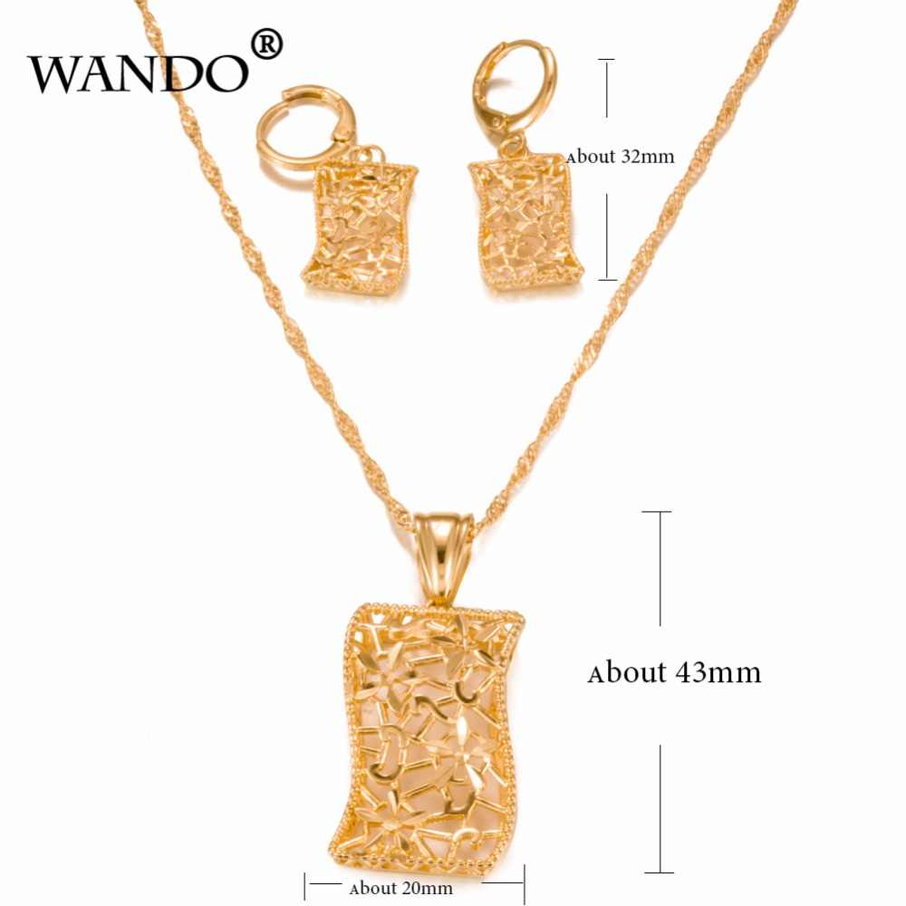 WANDO 18 Color oro joyería Eritrea conjunto de Sudán africano boda nigeriana boda colgante collar arete árabe ws3