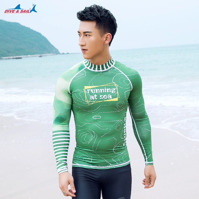a1312eb81b Men's Wetsuits UV Sun Protection Mens Basic Skins Long Sleeve Tee Sun Shirt  Rash Guard Swimming Suit Swimwear Rash Guard