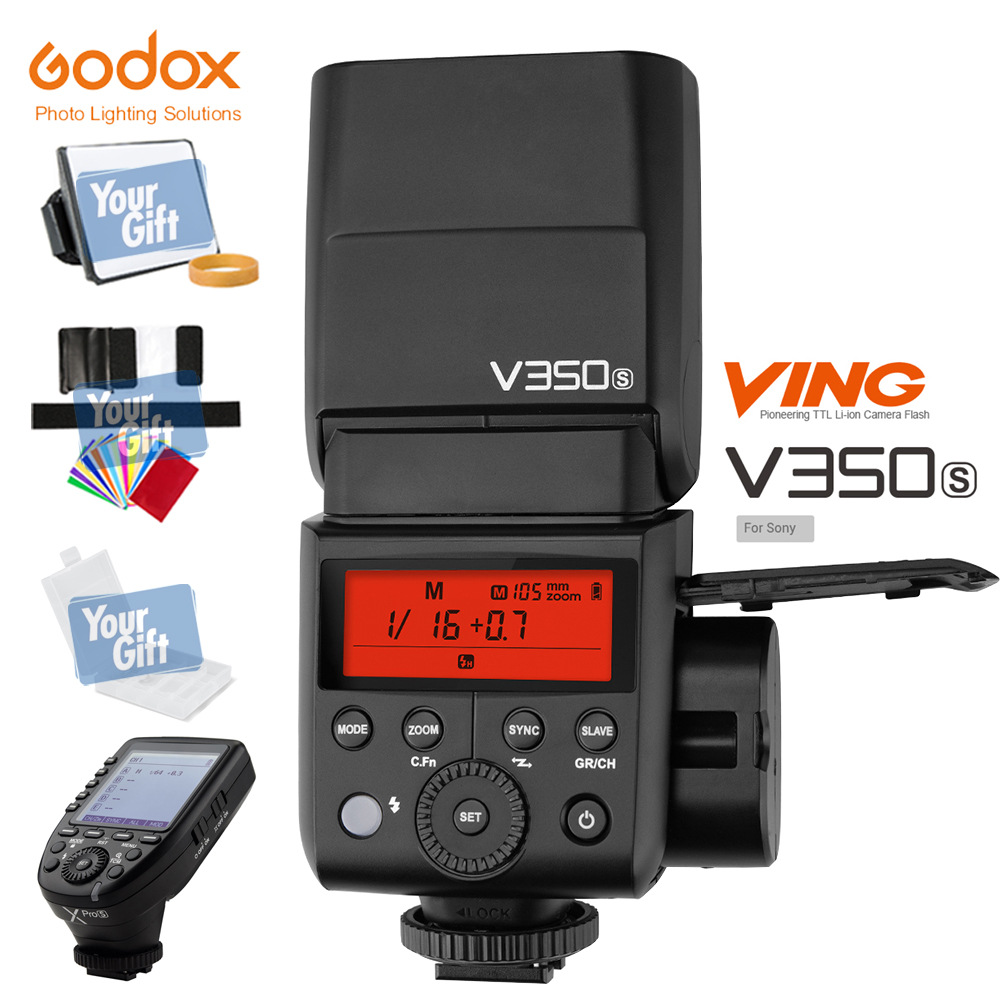In the Stock!!! Godox Mini Li-ion TTL V350S Camera Flash HSS 1/8000s GN36 0.1s~1.7s recycle+Xpro-S Transmitter Kit For Sony