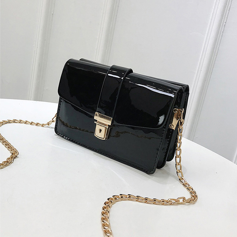 Fahion Chains Women Messenger Bag Quality Patent Leather Female Shoulder Bag Causal Small Flap Bag Ladys Crossbody Bag