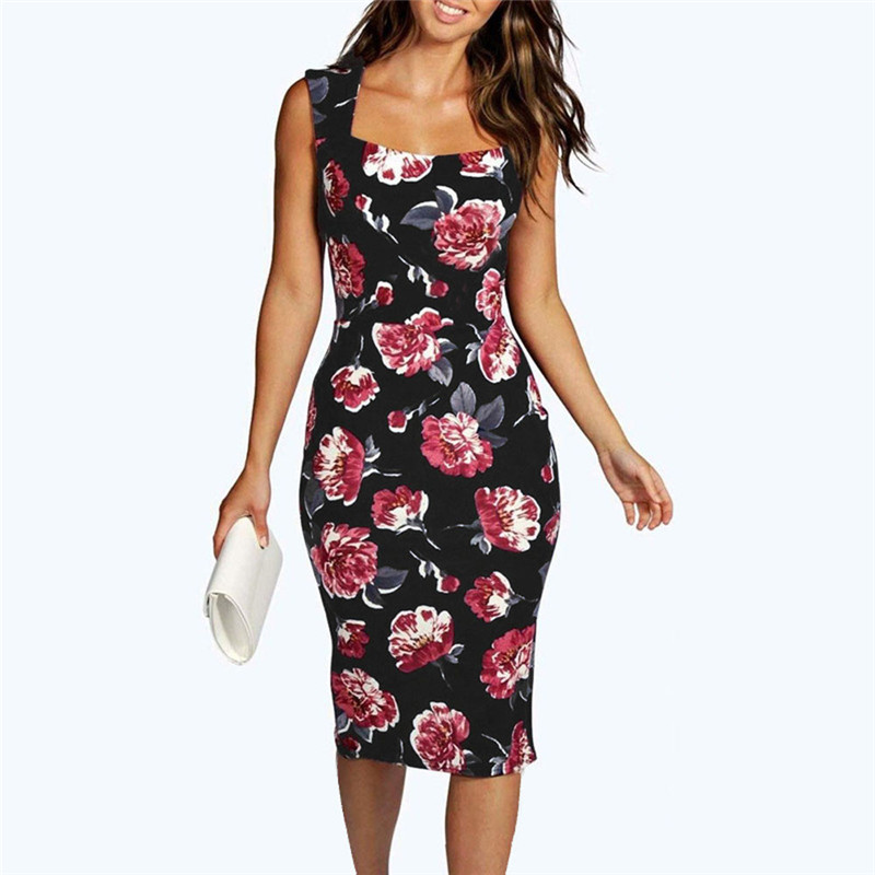 snowshine YLI Womens Sleeveless Floral Bodycon Cocktail Pencil Ladies Party Dress free shipping