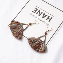 Antique Alloy Boho Bohemian Ethnic Handmade Craft Fabric Tassel Dangle Drop Earrings for Women Female 2018 Jewelry Accessories