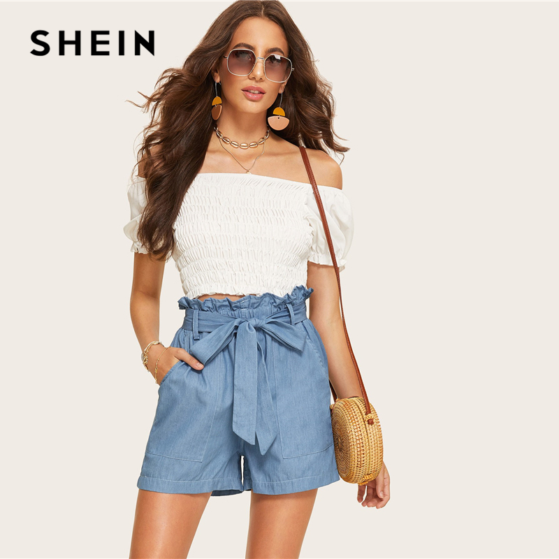 Shein Casual Blue Paperbag Waist Twin Pocket Patched Belted Denim Shorts Women Summer 2019 High Waist Wide Leg Solid Shorts