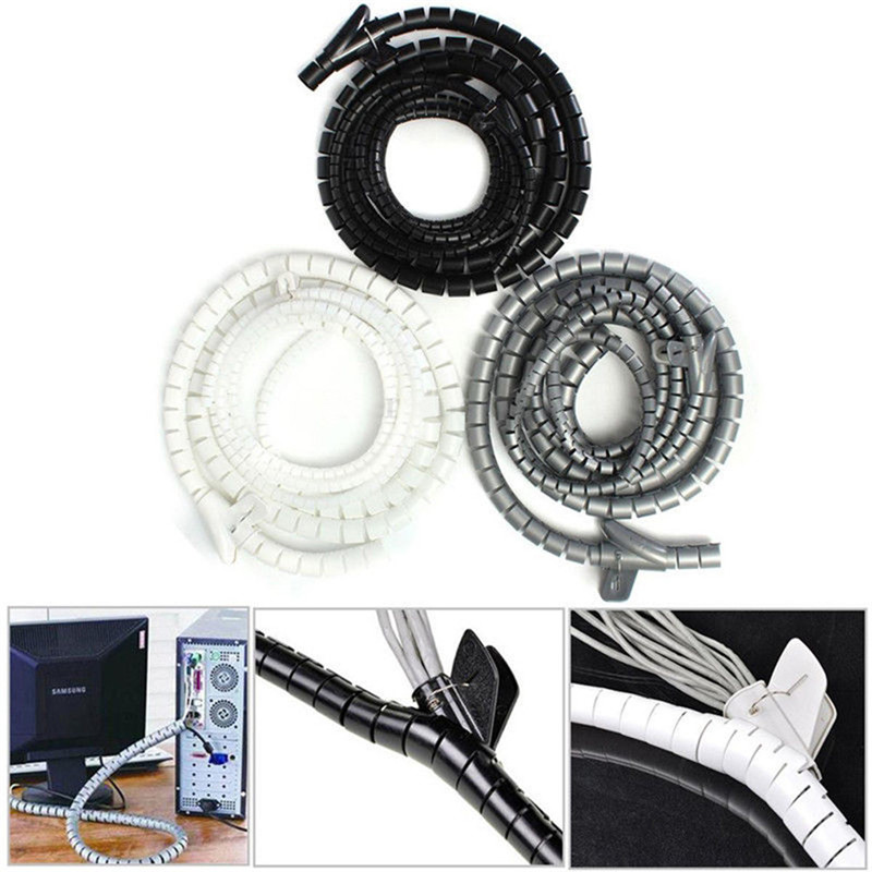 1m 10/25mm Cable Spiral Wrap Tidy Cord Wire Banding Loom Storage Organizer PC TV 1m durable spiral wire wrapping tube manage cord for pc computer home cable 4 50mm lowest price
