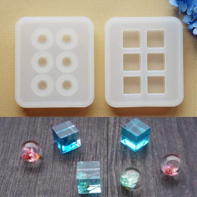 SNASAN Silicone Mold For Jewelry 16mm Cube Ball Beads 6 Compartment Resin Silicone Mould Handmade DIY Craft  Epoxy Resin Molds