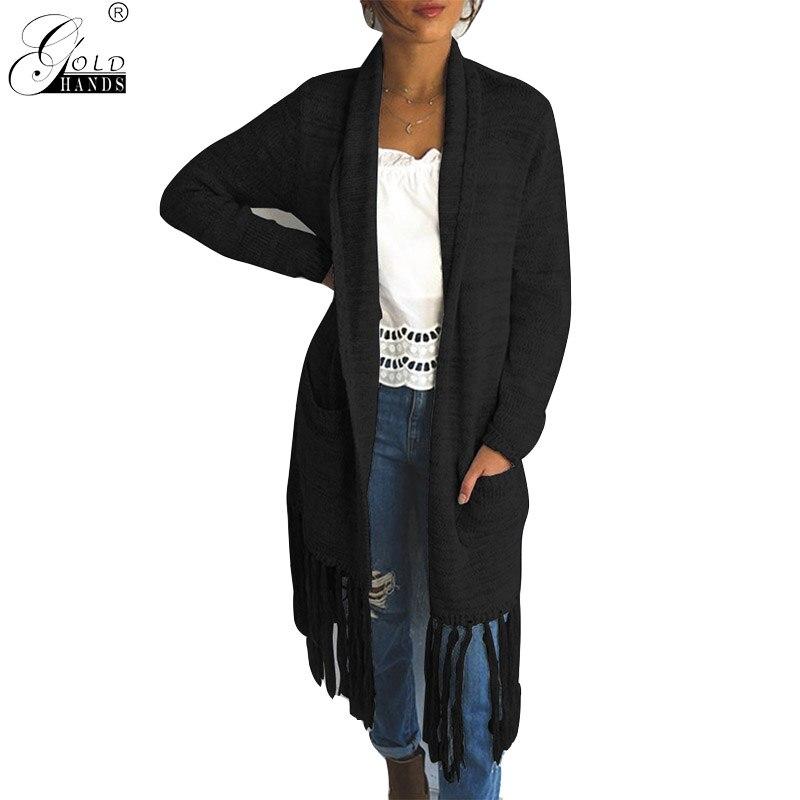 Gold Hands Autumn Winter Cardigans Tassel Pockets Solid O-Neck Loose Casual Women Sweaters Female Tops Plus Size Streetwear