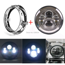 7 Inch LED Projector Daymaker Headlight With LED Headlight Mounting Bracket Ring For Harley Davidson Electra Glide Ultra