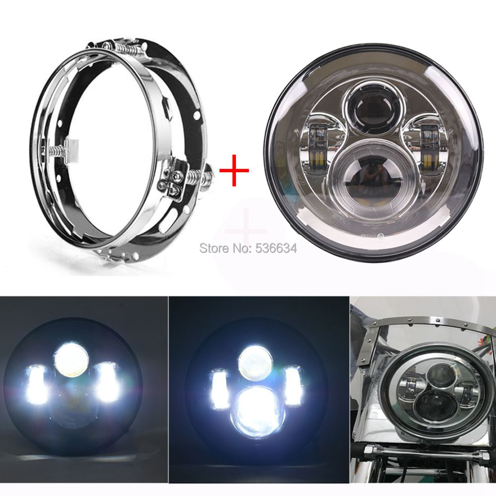 7Inch LED Projector Daymaker Headlight Hi/Low Beam + LED Headlight Mounting Bracket Ring For Electra Glide Ultra Classic EFI
