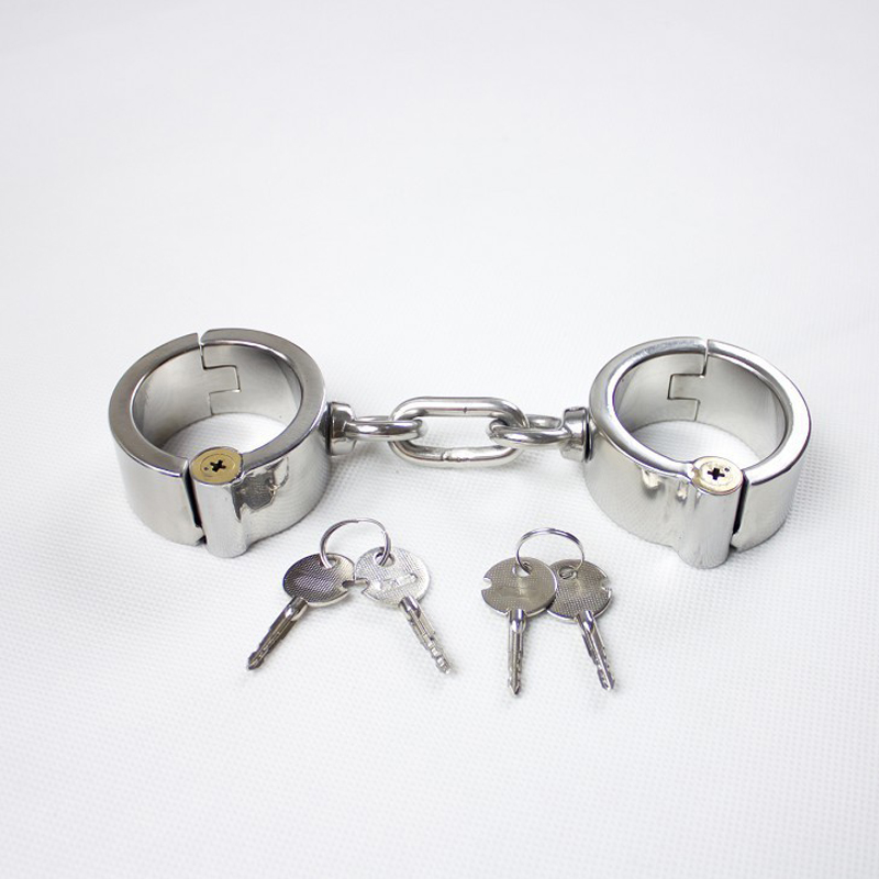 HOT metal handcuffs sex BDSM bondage Invisible round lock 100% stainless steel hand cuffs adult game sex toys for women/men tri fidget hand spinner triangle metal finger focus toy adhd autism kids adult toys finger spinner toys gags