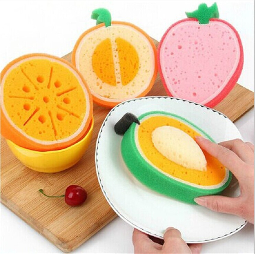 10pcs Sweet fruits magic sponge for washing dishes sponges for tableware cleaning for kitchen kitchen accessories cleaning brush