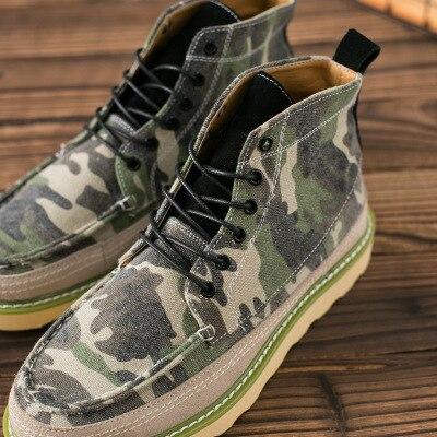 Aumentou brown Sapatos Alta Lona Homens 2018 Masculinos Casuais Tendência Camuflagem Maré De Dos Ajuda Black Tira Britânico Primavera qwFxZTCZ