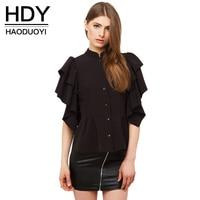 HDY Haoduoyi Apparel Casual Ruffles Women Shirt Tops Black Buttons Slim Chiffon Blouse Shirt Casual Short