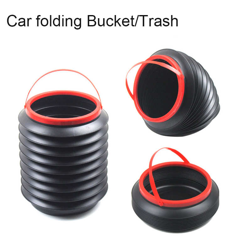 4L Car Folding Trash Collapsible Water Fishing Bucket Outdoor Camping Garbage Plastic Bucket Storage Box Container