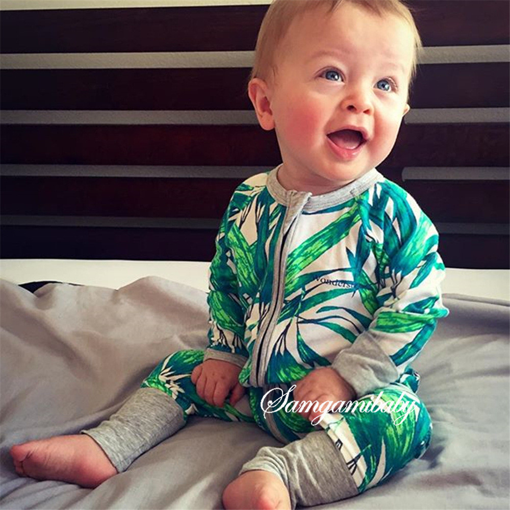 2017 Autumn baby girls boys cotton long sleeve bamboo flower zipper rompers infant casual clothes kids jumpers overall 17A801