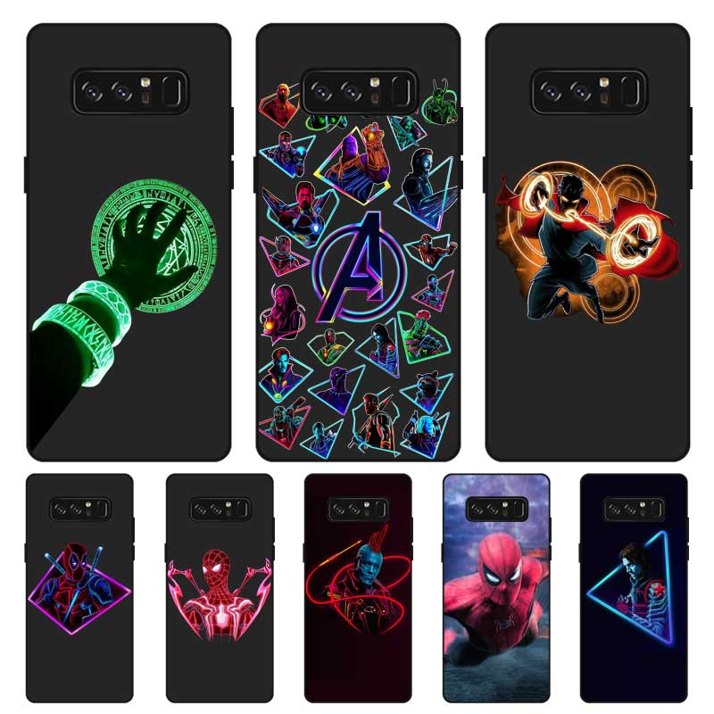 P218 Superheroes Black Silicone Case Cover For Samsung Galaxy Note 3 4 5 8 9 10 Plus M10 M20