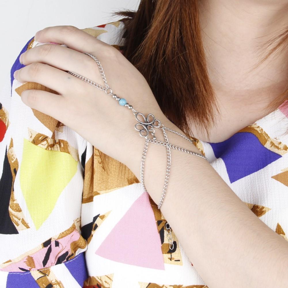 HTB1mMlhKVXXXXakaXXXq6xXFXXXy Bohemian Hand Slave Chain Jewelry With Fleur De Lis Accent