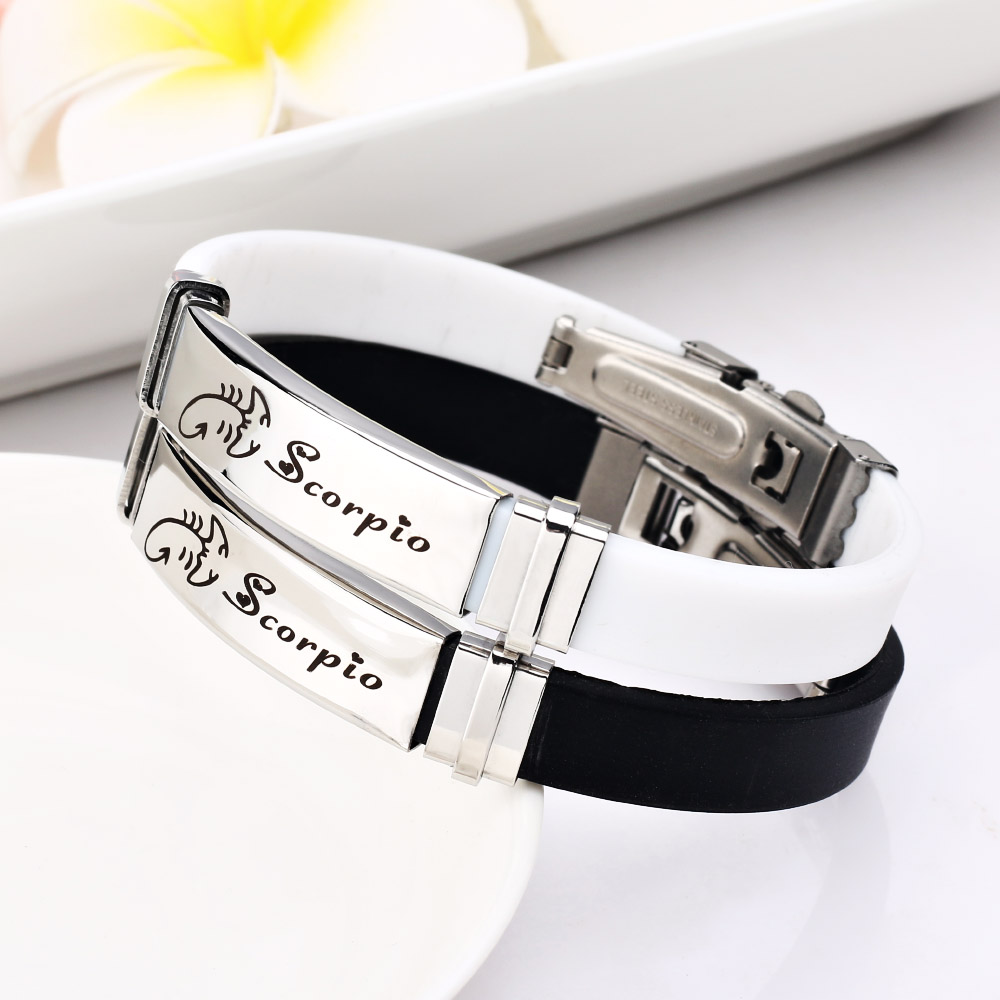 12 Constellations 316L stainless steel Scorpion Bracelets Men rubber Charm Casual Bracelets & Bangles Jewelry For Women Jewelry