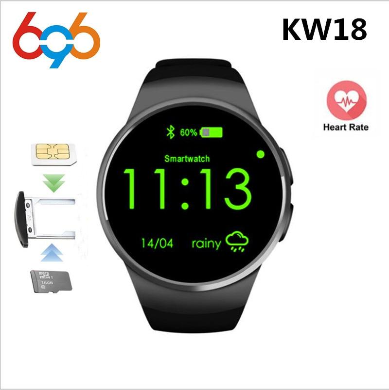 696 KW18 Bluetooth Relógio Inteligente TK2502C 1.3 polegada HD IPS Smartwatch relógio de Pulso SIM Slot Para Cartão TF Monitor de Freqüência Cardíaca Inteligente