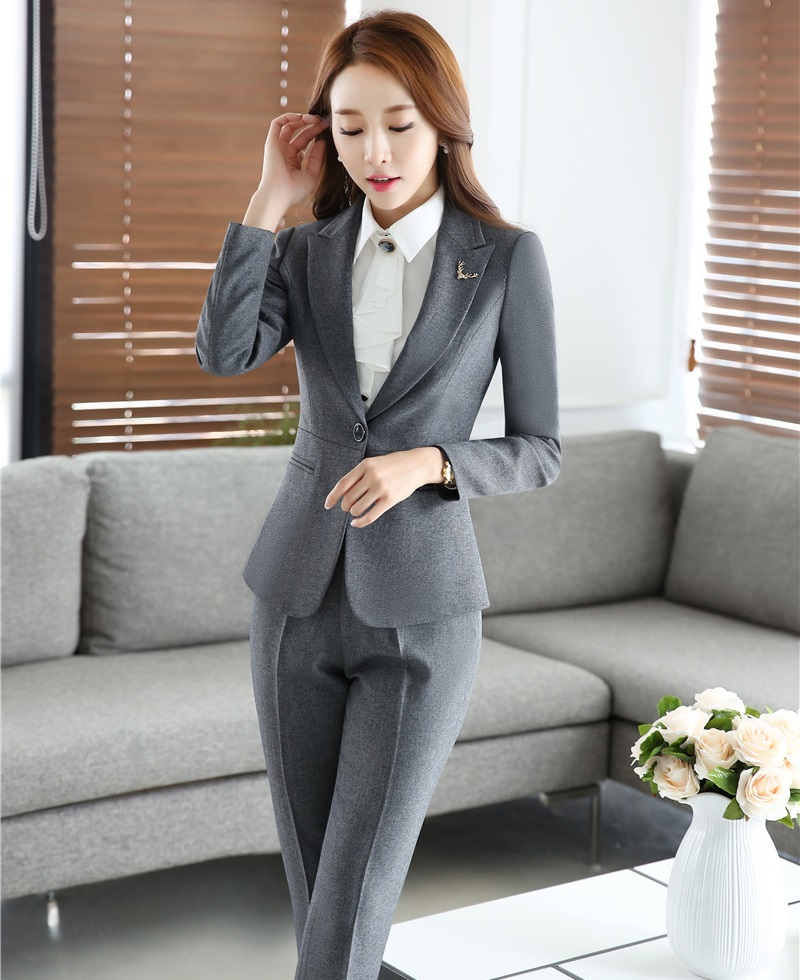 Novelty Gray Autumn And Winter Female Pantsuits With Jackets And Pants Professional Formal OL Styles Business Women Trousers Set