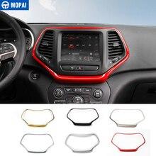 MOPAI ABS Auto Innen Dashboard Navigation GPS Panel Dekoration Rahmen Abdeckung Aufkleber für Jeep Cherokee 2014 Up Auto Styling