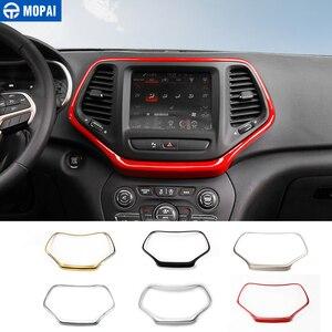 Image 1 - MOPAI ABS Автомобильная внутренняя панель навигационная панель GPS декоративная рамка наклейки для Jeep Cherokee 2014 Автомобильный Стайлинг