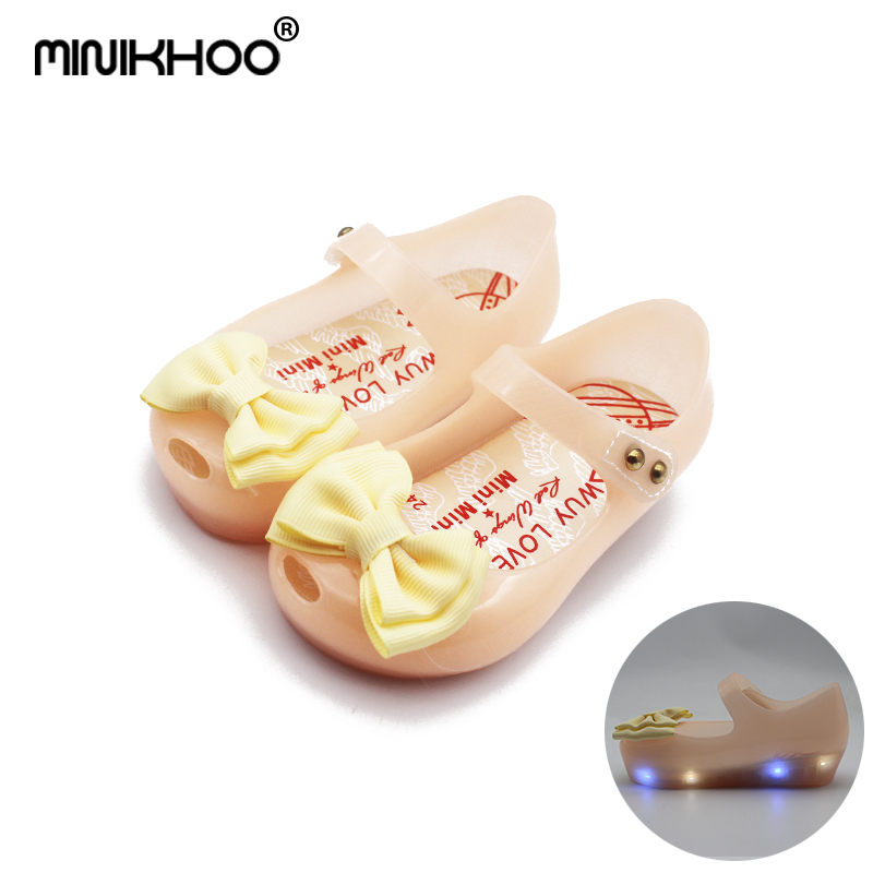 Mini Melissa 2018 HOT New Arrivals LED Light Girls Sandals Bow Kids Shoes Melissa Jelly Shoes LED Flash Sandals High Quality