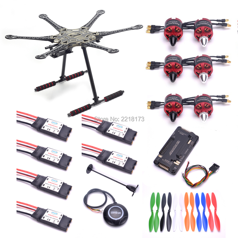 S550 PCB 550mm Multicopter Frame Kit w/ Carbon fiber landing gear APM2.6 APM 2.6 flight controller M8N GPS w/ compass 2212 motor free shipping fltp 10dof multicopter flight controller w compass